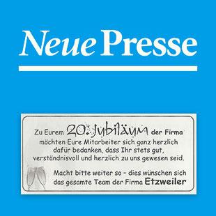 Dank Mitarbeiter - Neue Presse