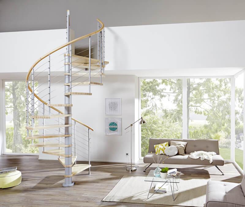 Brillux Designboden Holztreppe Wohnzimmer