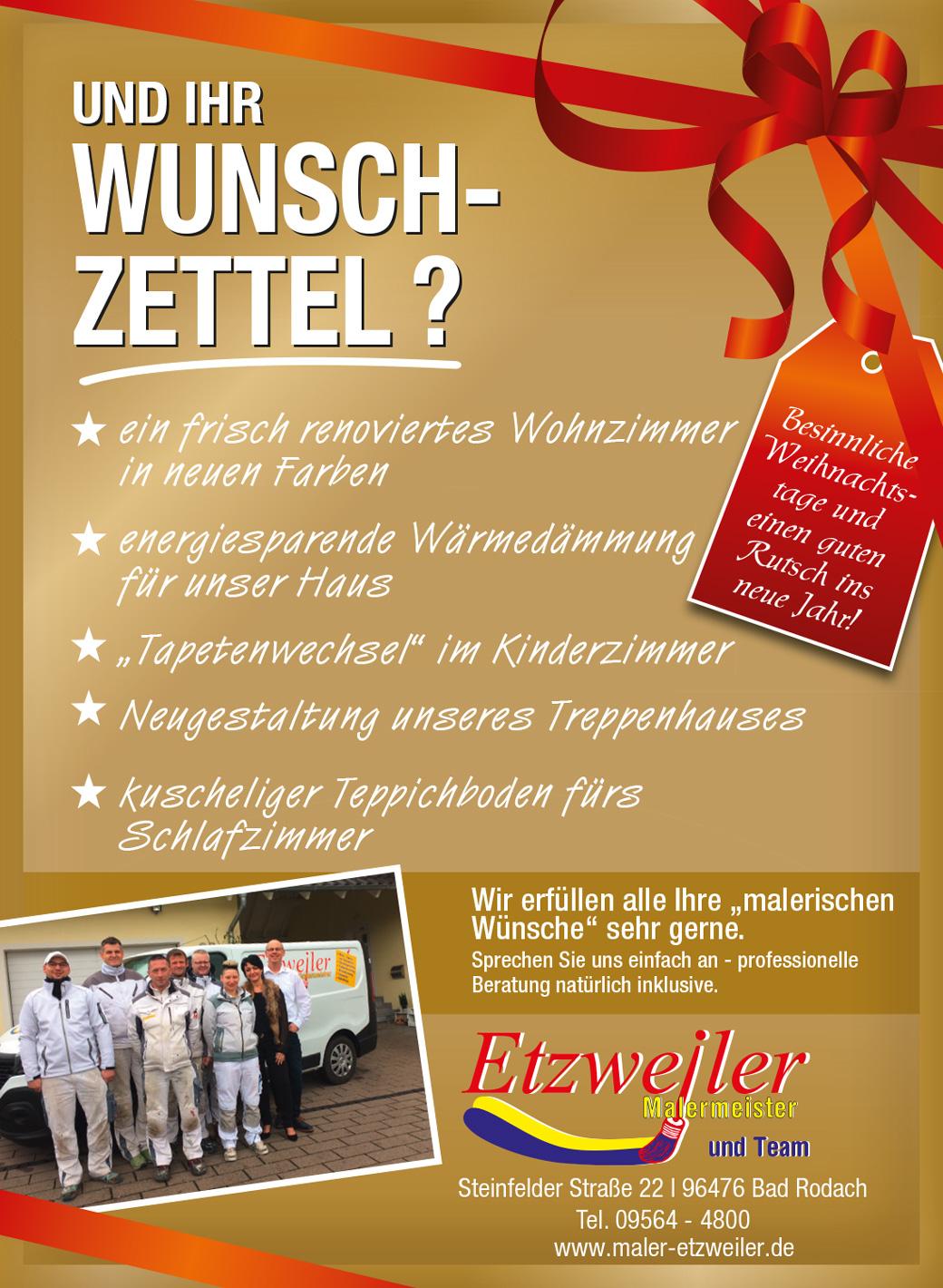 Wunschzettel 2018 - Malermeister Etzweiler