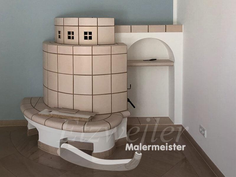 Referenz - Maler Etzweiler - Wohnbereich mit Kachelofen
