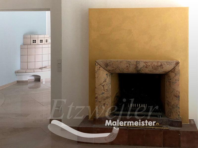 Referenz - Maler Etzweiler - Wohnbereich mit Kamin