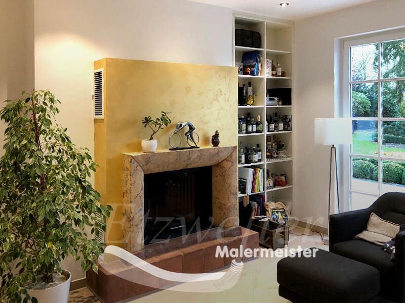 Referenz - Maler Etzweiler - Wohnbereich mit Kaminofen