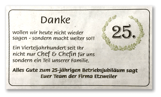 Danke der Mitarbeiter zum 25-jähriges Jubiläum - Maler Etzweiler